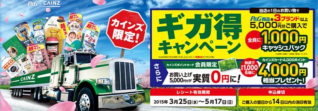 【2015年3月】P&Gの1,000円キャッシュバックキャンペーンが開催